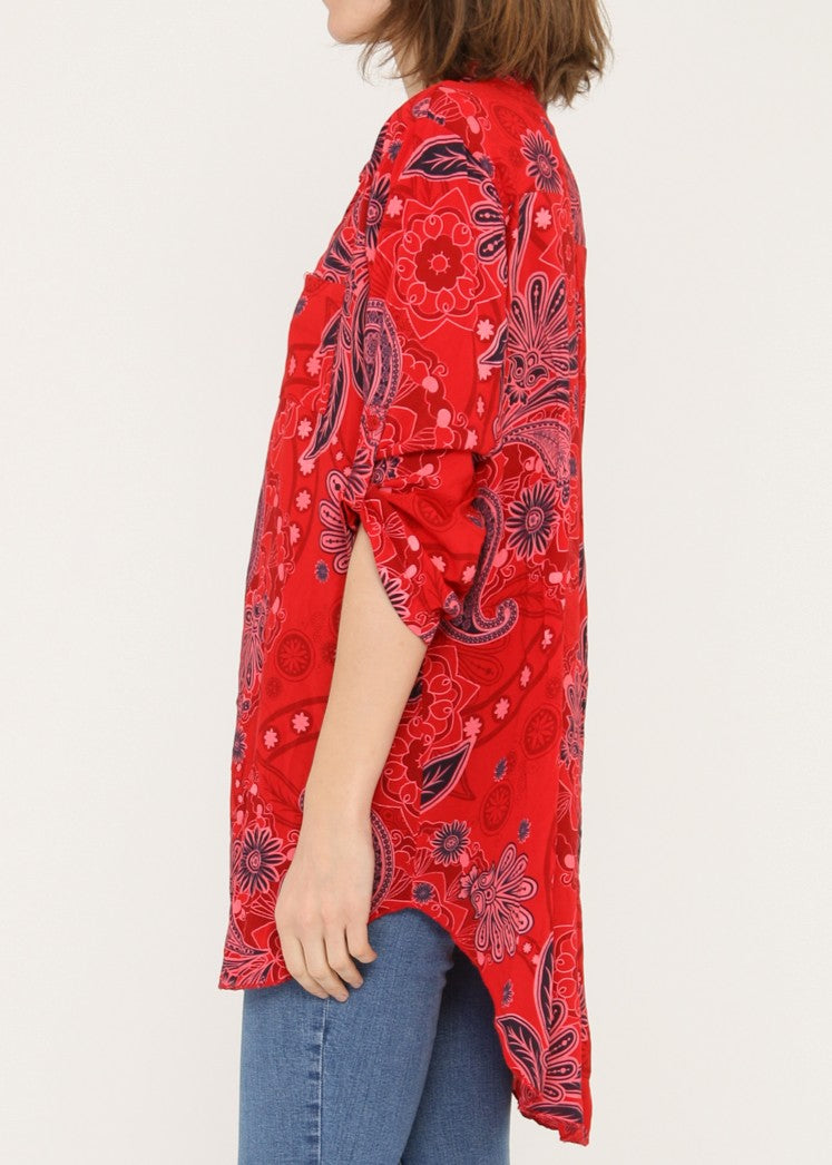ALANA - Floral Patterned Shirt - Red