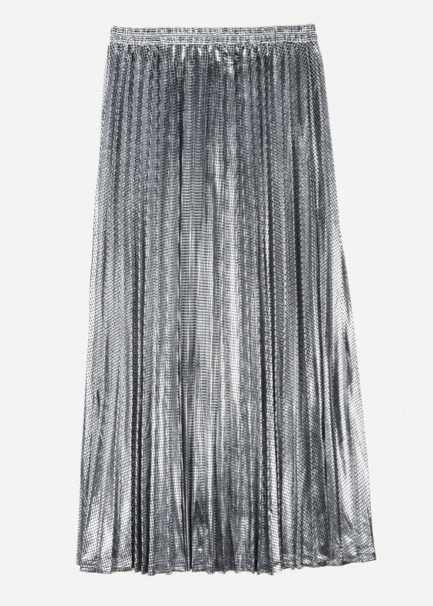 CLAUDIA - Pleated Skirt - Metalic Silver