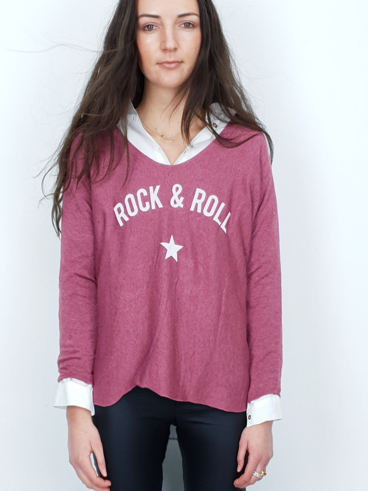 Rock & Roll | Knit T-shirt | Raspberry