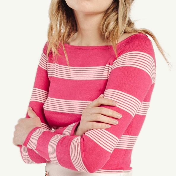 LOU - Striped Close Fitting Top - Fuchsia
