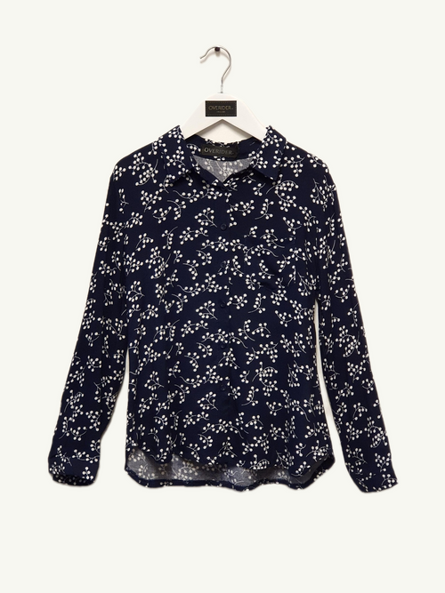 SABINE - Girls Floral Shirt - Navy
