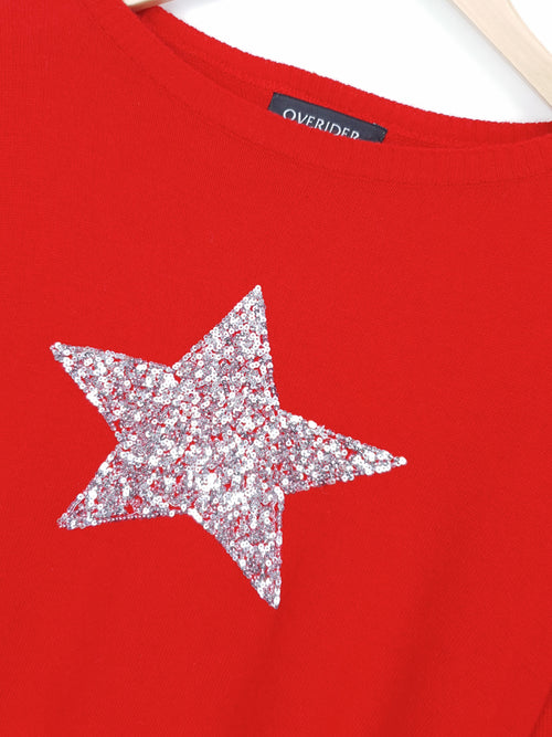 SEQUIN STAR - Cashmere Blend Jumper - Red/Silver