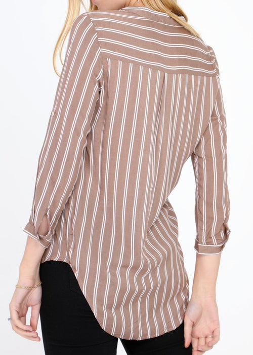 SASHA - Striped Cotton Blouse - Almond Buff