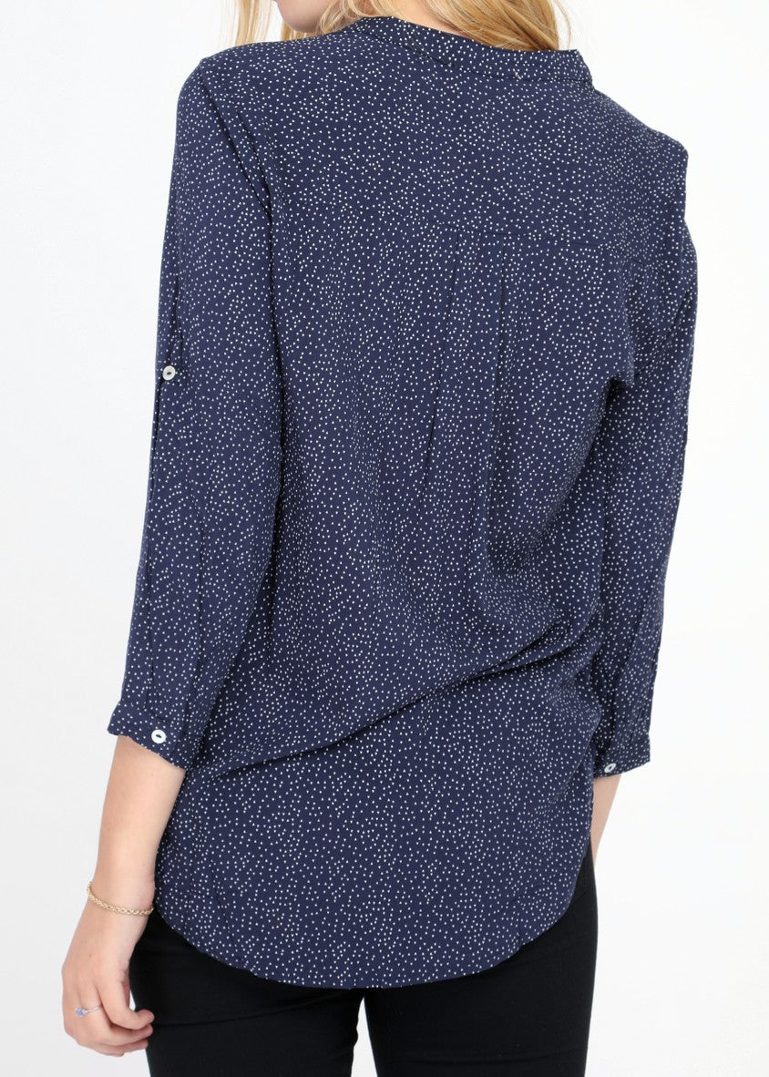 INES - Patterned Blouse - Navy