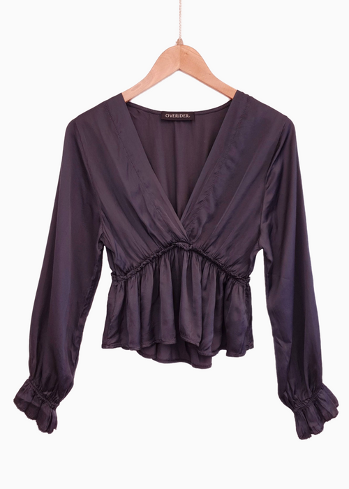NIKA | Vintage Inspired Silk Top | Anthracite