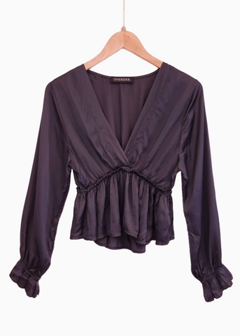 NIKA | Vintage Inspired Silk Top - Petrol