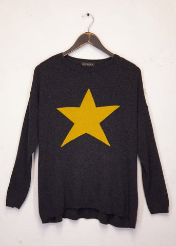STELLA - Star Jumper - Grey / Orange