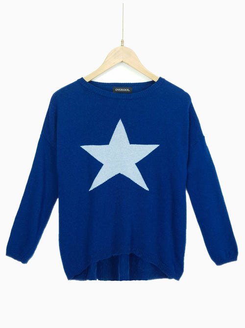 STAR - Cashmere Blend Jumper - Teal/White
