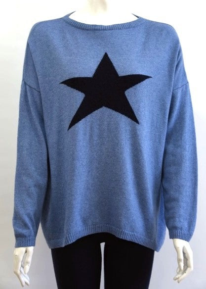 ISABEL - Star Jumper in Cashmere & Wool - Denim Blue / Navy