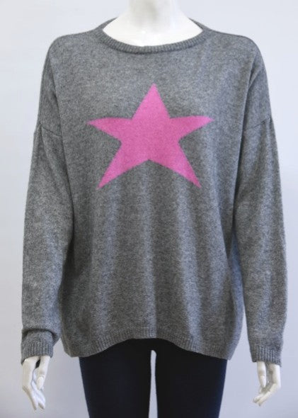 ISABEL - Star Jumper in Cashmere & Wool - Grey / Fuscia