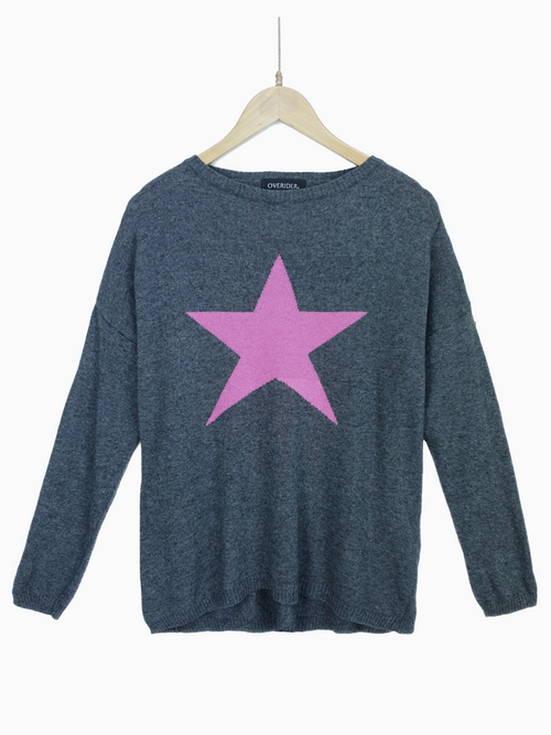 STAR - Cashmere Blend Jumper - Charcoal/Fuscia