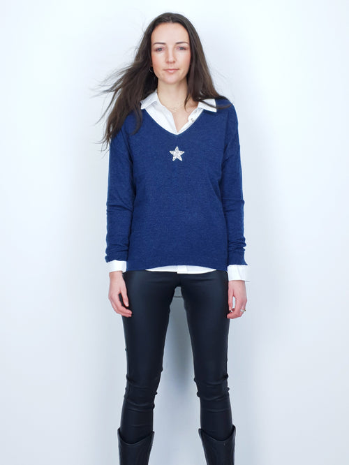 SMALL STAR - Embellished Jumper - Denim Blue
