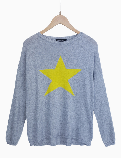 STAR - Cashmere Blend Jumper - Grey/Yellow