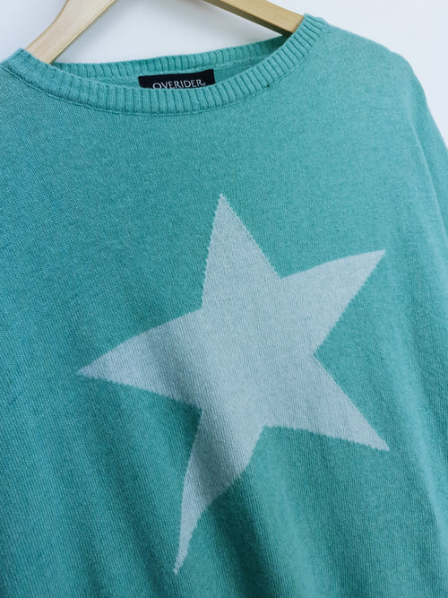 STAR - Cashmere Blend Jumper - Mint/Grey