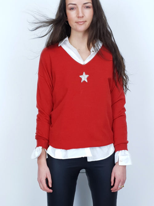 SMALL STAR - Embellished Jumper - Fire Brick
