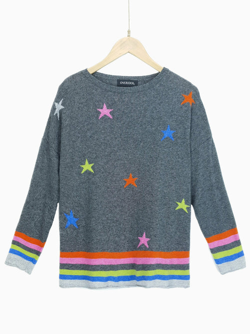 STARS & STRIPES - Cashmere Blend Jumper - Charcoal/Multi