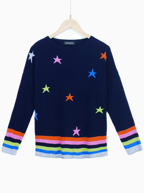STARS & STRIPES - Cashmere Blend Jumper - Navy/Multi