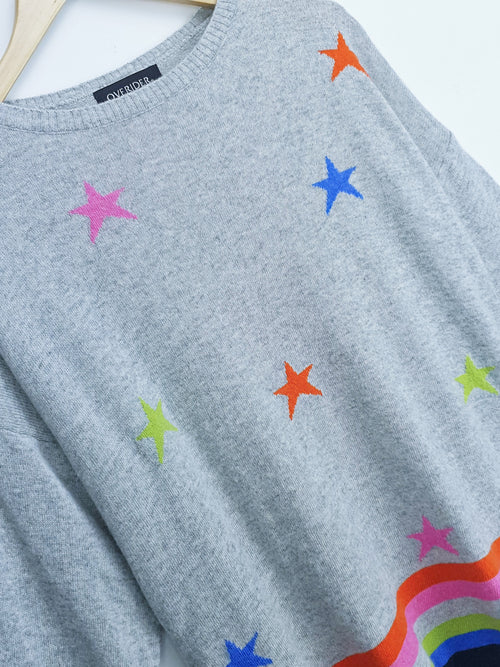 STARS & STRIPES - Cashmere Blend Jumper - Grey/Multi