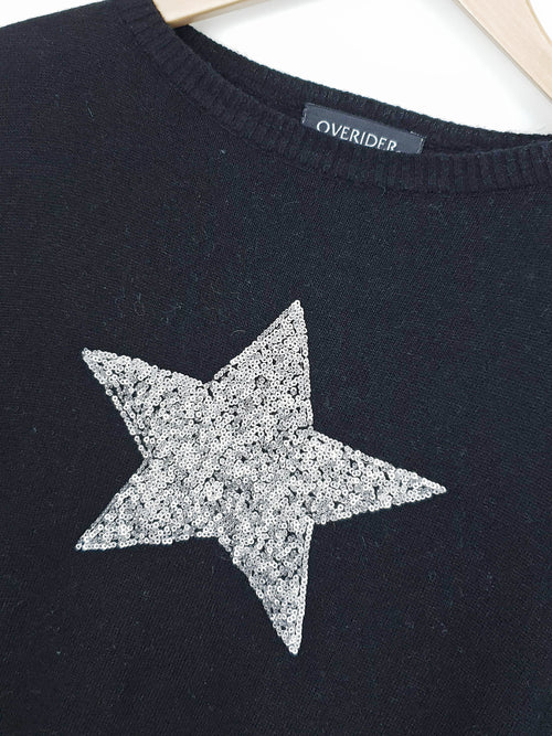 SEQUIN STAR - Cashmere Blend Jumper - Black/Silver