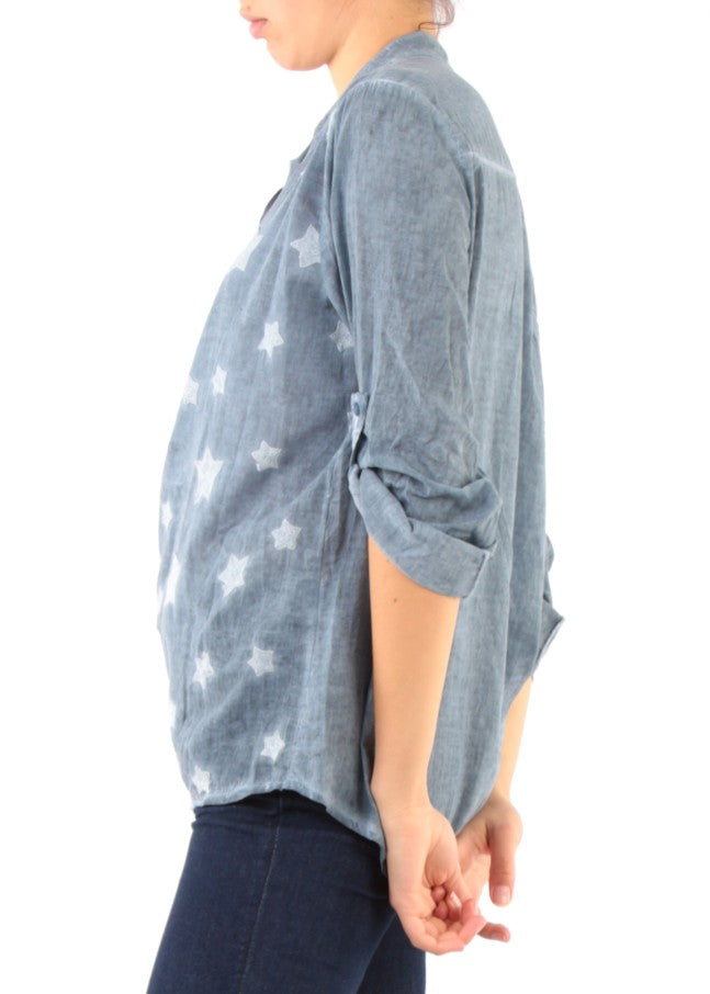 STELLA - Embroidered Star Shirt - Denim Blue