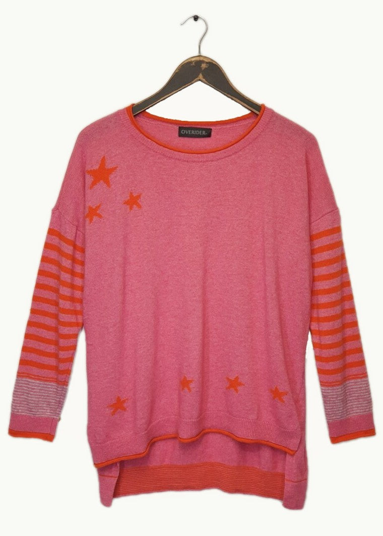 LIANA - Stars & Stripes Jumper - Fuscia / Orange