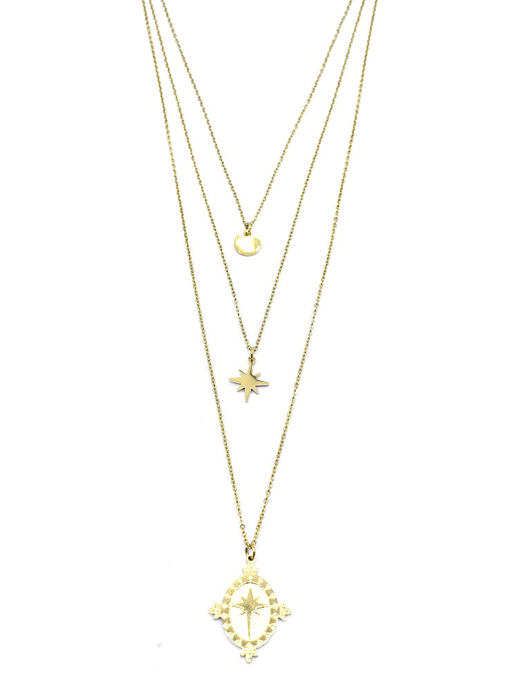 Stars and Disc Necklace | Gold