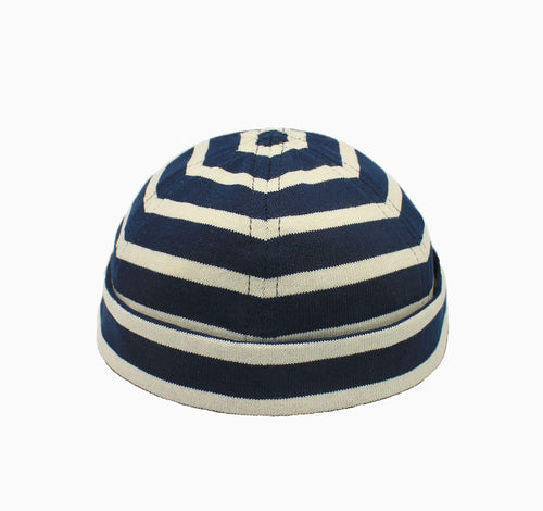 MATILDA | Striped Docker Hat | Navy/Ecru