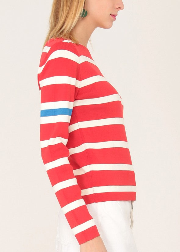 EVIE - Sports Stripe Pullover - Red