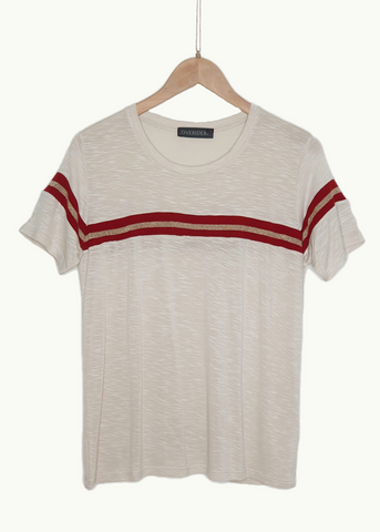 LUCI - Striped T-shirt - Grey Marle