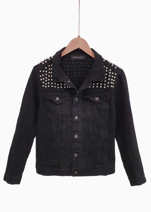 PAVALA | Metal Studded Jacket | Black Denim