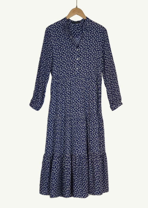 Overider Summer Floral Dress - Navy with with floral detail