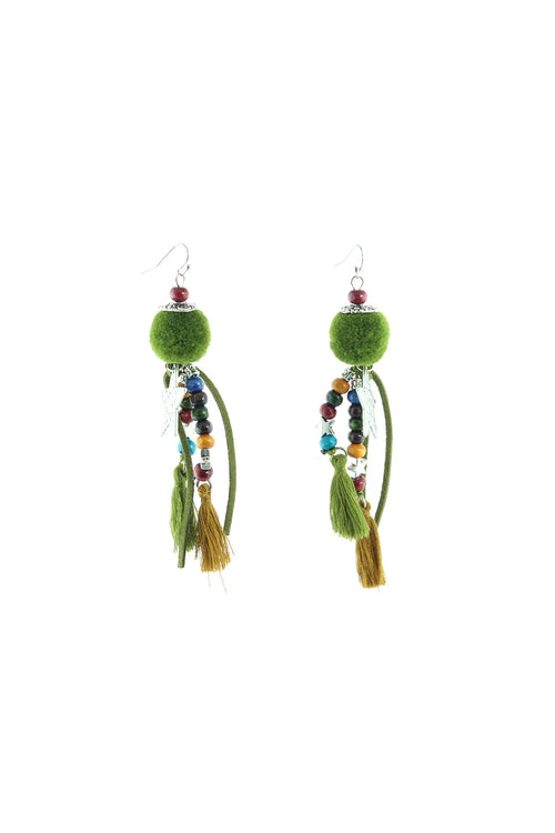 ERIKA - Pom Tassle  Earrings - Green