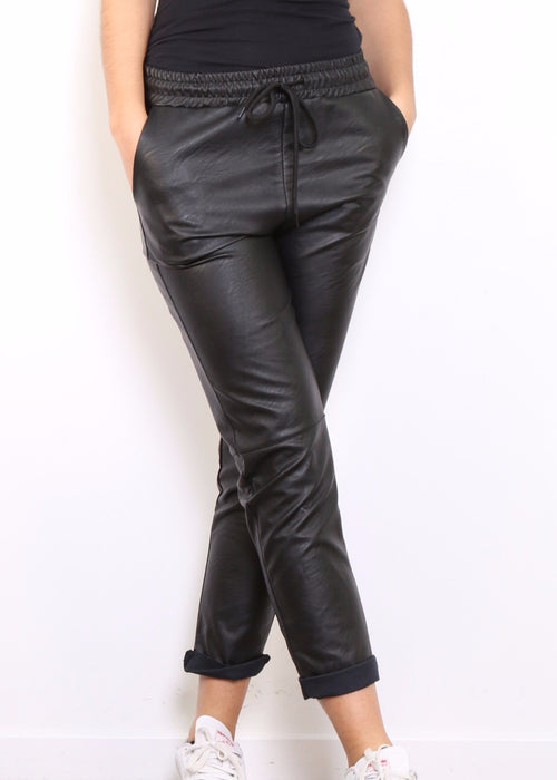 MILLIE - Gloss Black  Slouch Pants