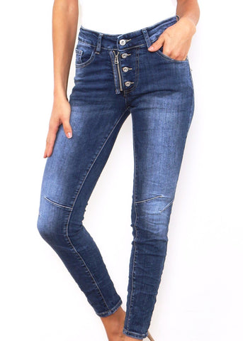 ISABEL - Denim Jeans with Side Stripe - Stone