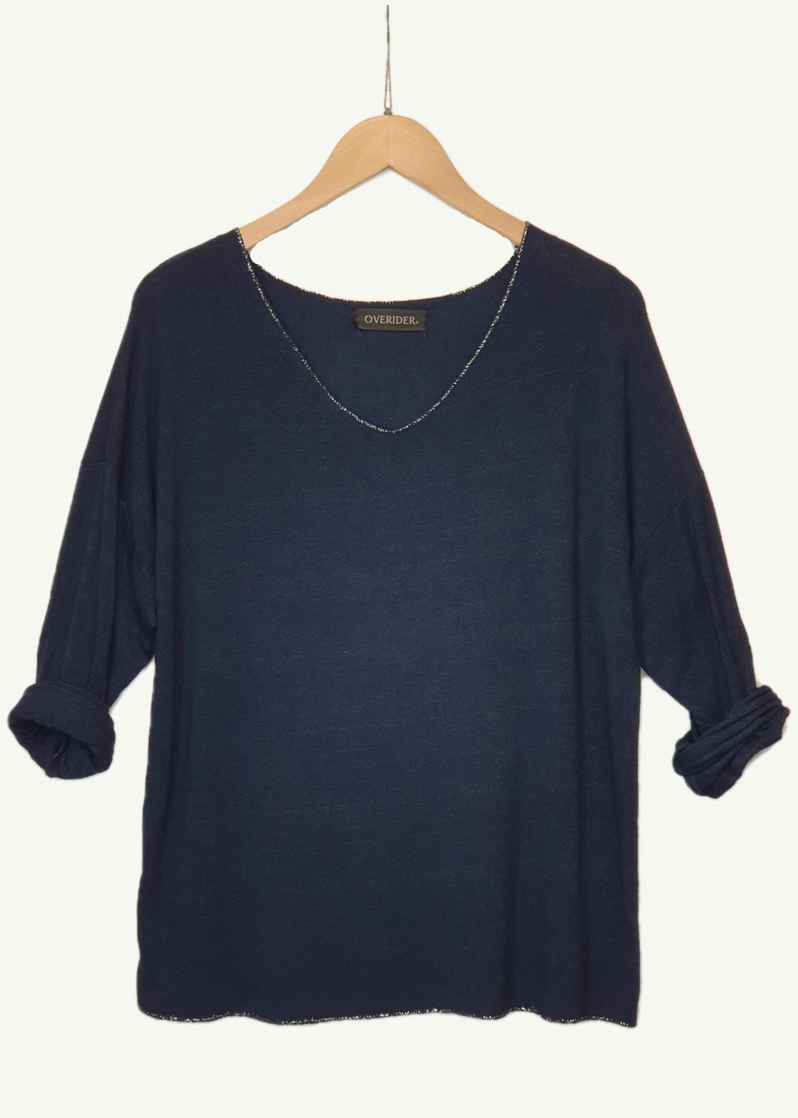 ELISE - 'V' Neck Sparkle  Knit Top - Navy