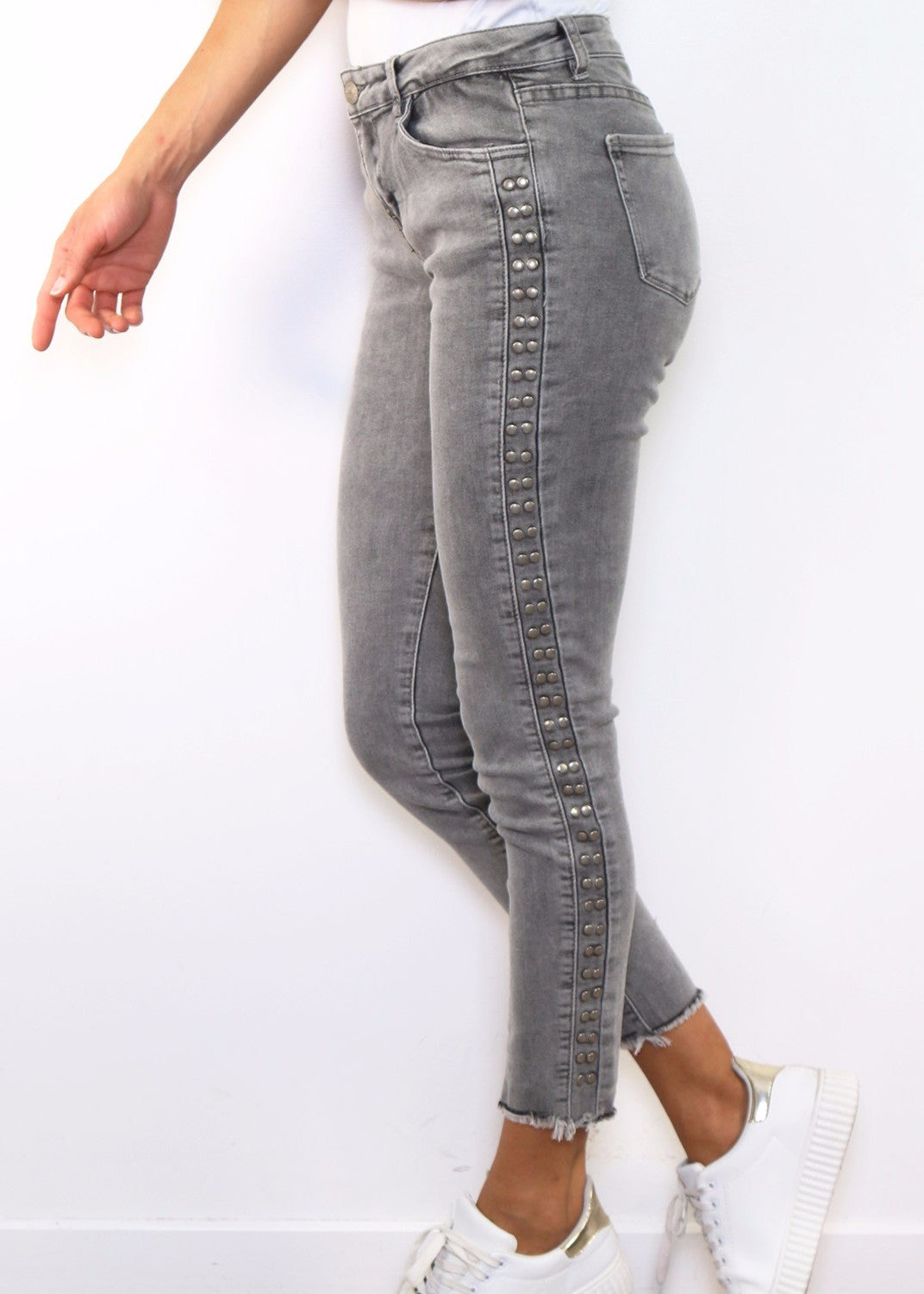 MARIAN - Studded Jeans - Grey