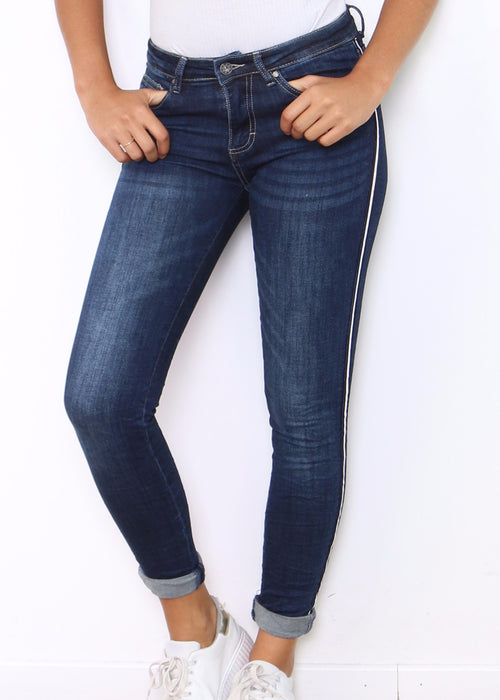 INES  Jeans - White Stripe - SOLD OUT