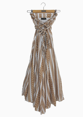 TILDE - Gold Foil Maxi Dress - Ecru