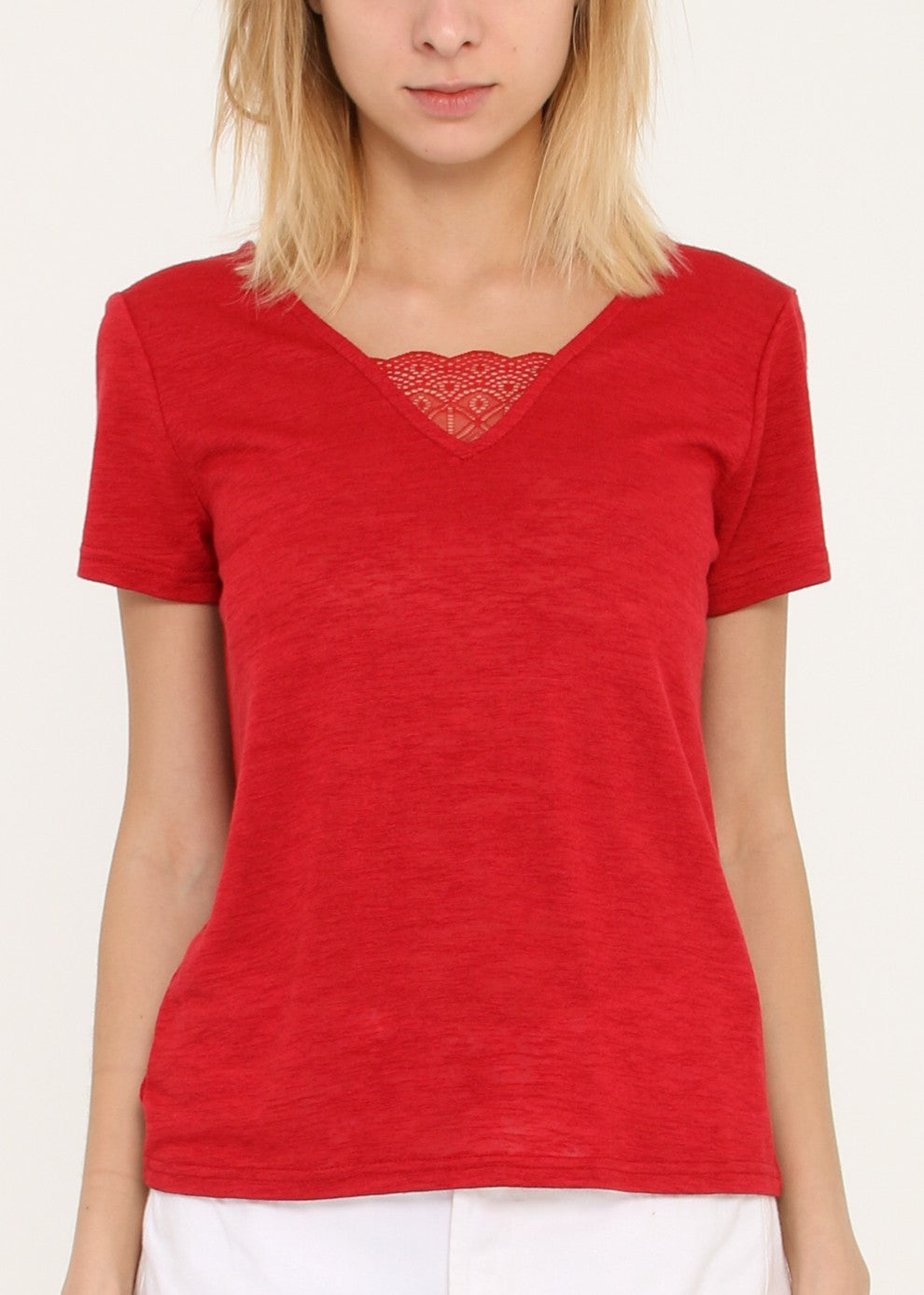 KOVICH - V Lace Top - Red