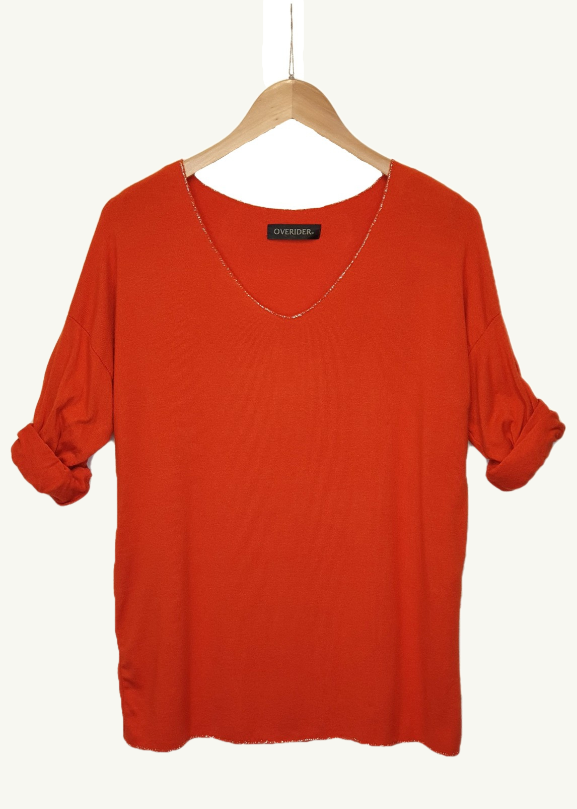 ELISE - 'V' Neck Sparkle  Knit Top - Rust