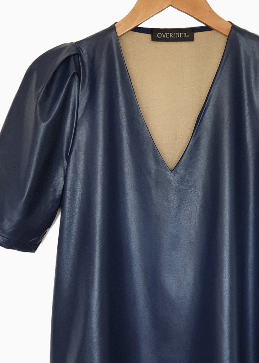 ELOISE | Vegan Leather V Neck Top | Navy
