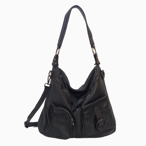 ALLISA | Washed Leather Shoulder Bag | Black