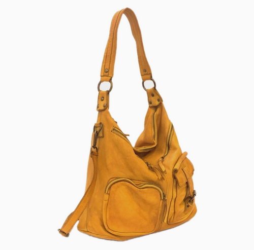 ALLISA | Washed Leather Shoulder Bag | Yellow Ochre