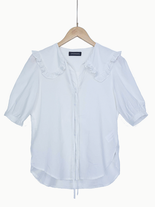 NEW | TARA | Frill Collar Blouse | White