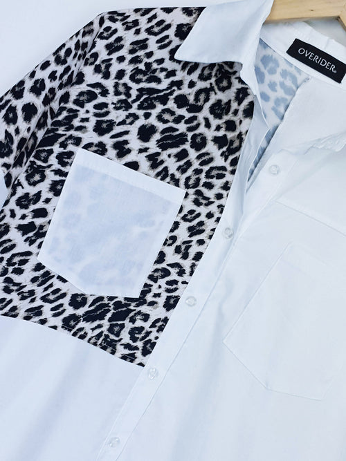 NINA | Animal Shoulder White Shirt