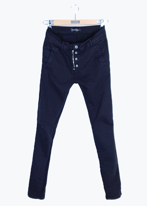 INGA  - Skinny Jeans with Zip & Buttons - Black