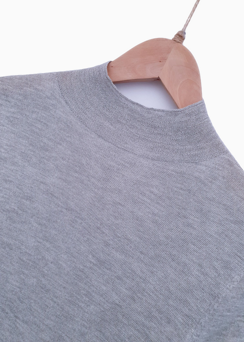 LUCIA | Fine Knit Pullover | Light Grey