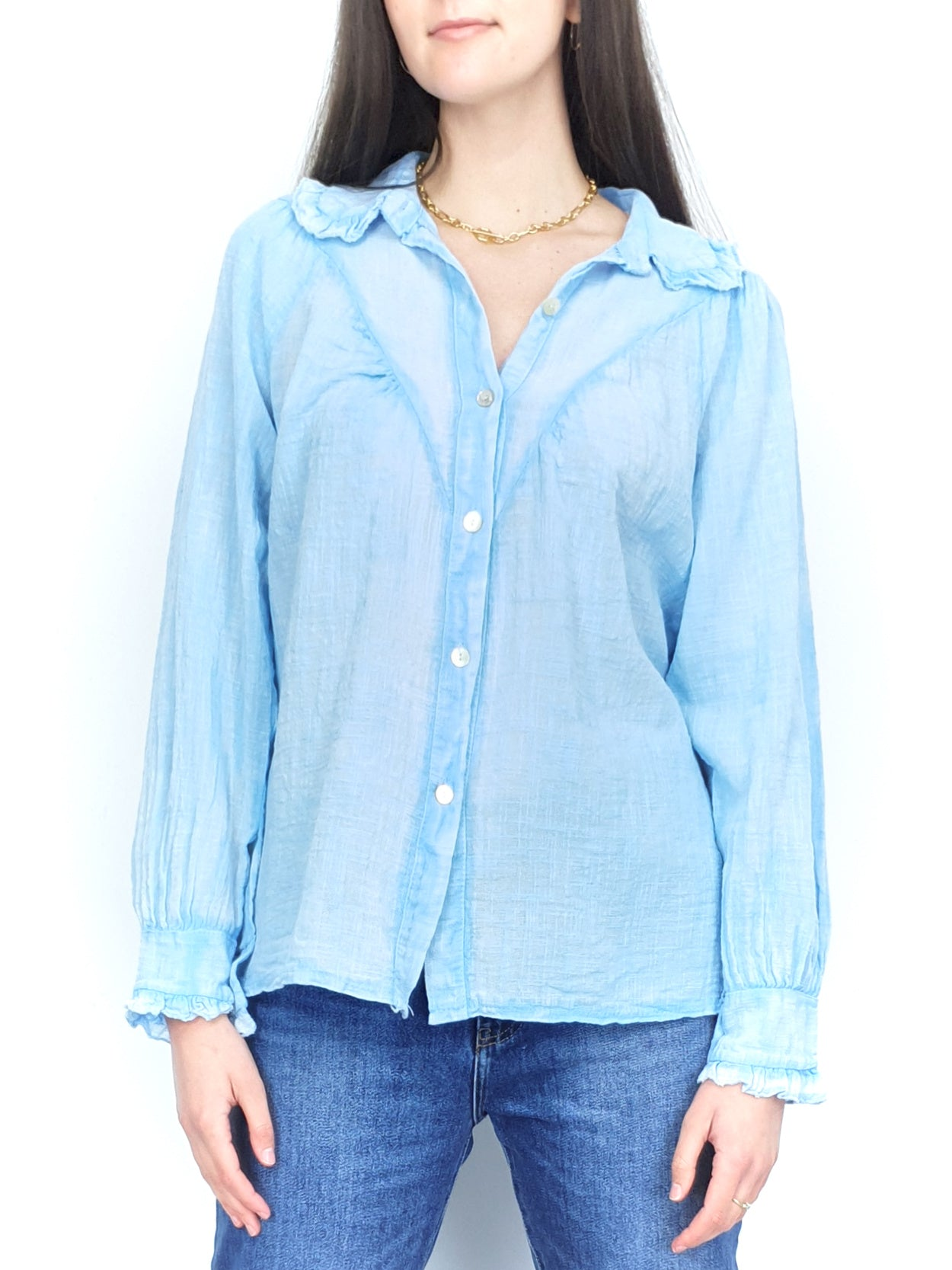 NEW | KATINA | Frill Collar Blouse | Blue