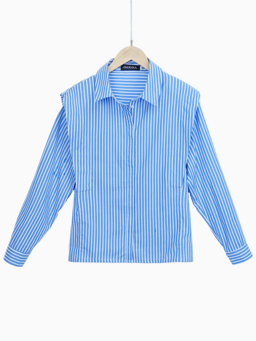 ANARA | Striped Shirt with Frill Front | Blue/White