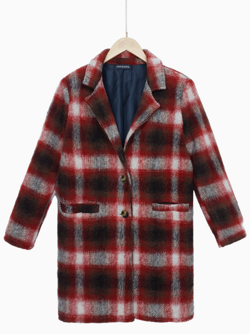 NADYA | Wool Plaid Coat | Red - LOW STOCK!